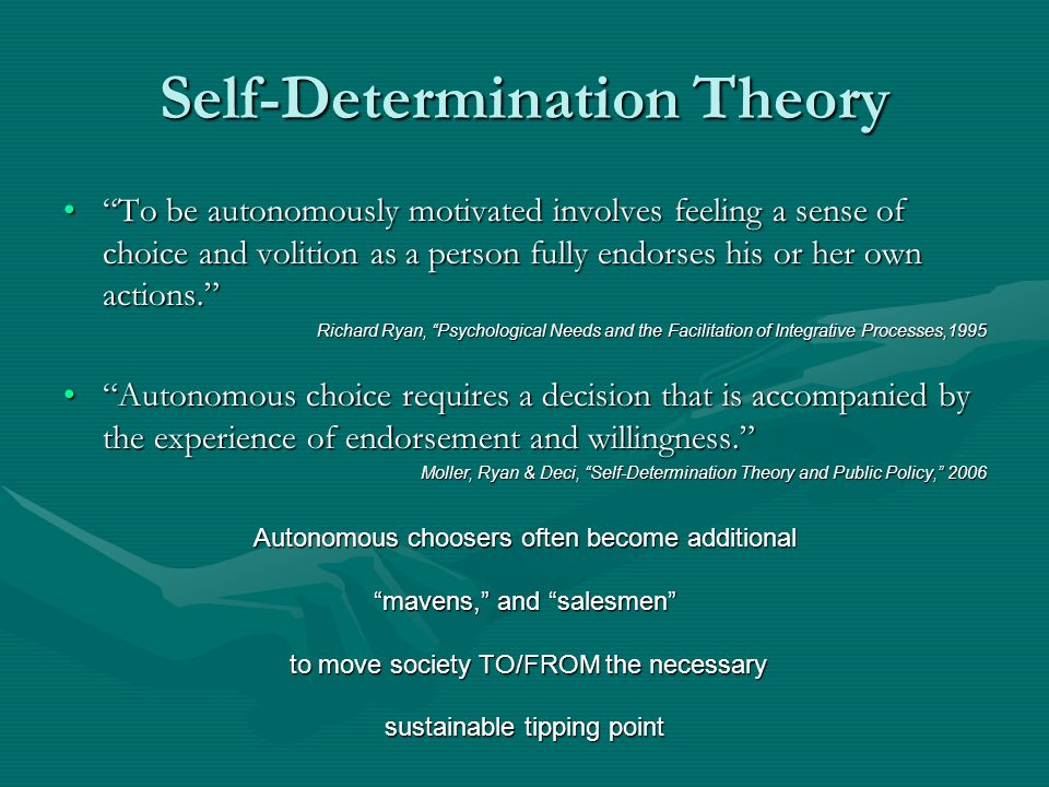 Self-Determination Theory To be autonomously motivated involves feeling a sense of choice and volition as a person fully endorses his or her own actions.To be autonomously motivated involves feeling a sense of choice and volition as a person fully endorses his or her own actions.