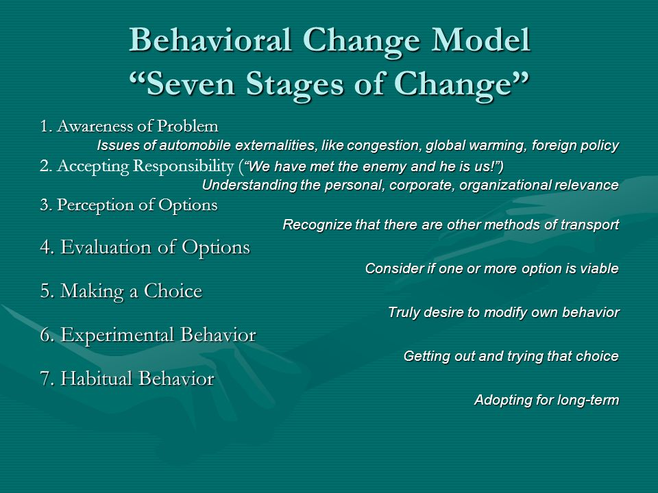 Behavioral Change Model Seven Stages of Change 1. Awareness of Problem Issues of automobile externalities, like congestion, global warming, foreign po