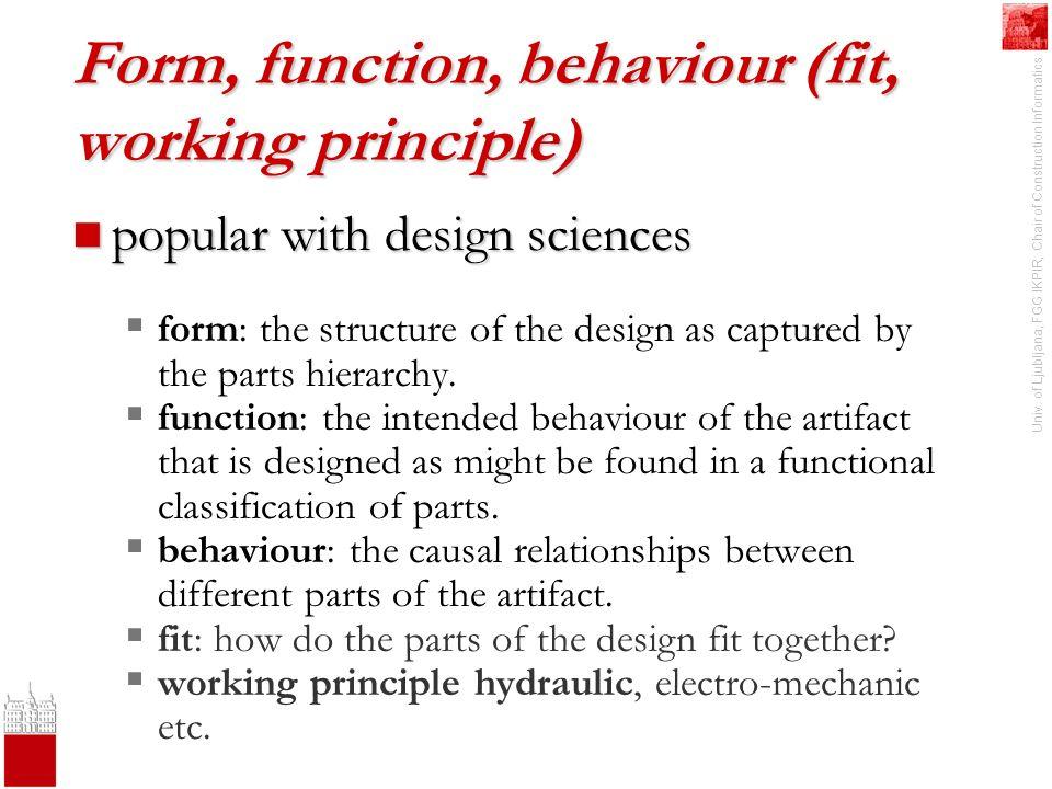Univ. of Ljubljana, FGG IKPIR, Chair of Construction Informatics Form, function, behaviour (fit, working principle) popular with design sciences popul