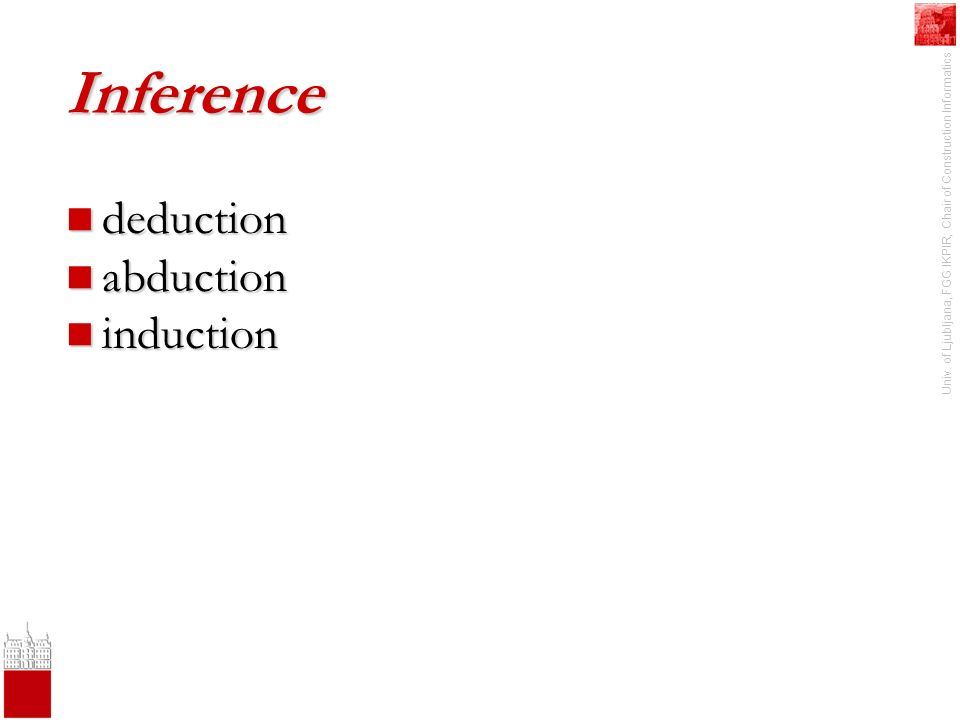 Univ. of Ljubljana, FGG IKPIR, Chair of Construction Informatics Inference deduction deduction abduction abduction induction induction