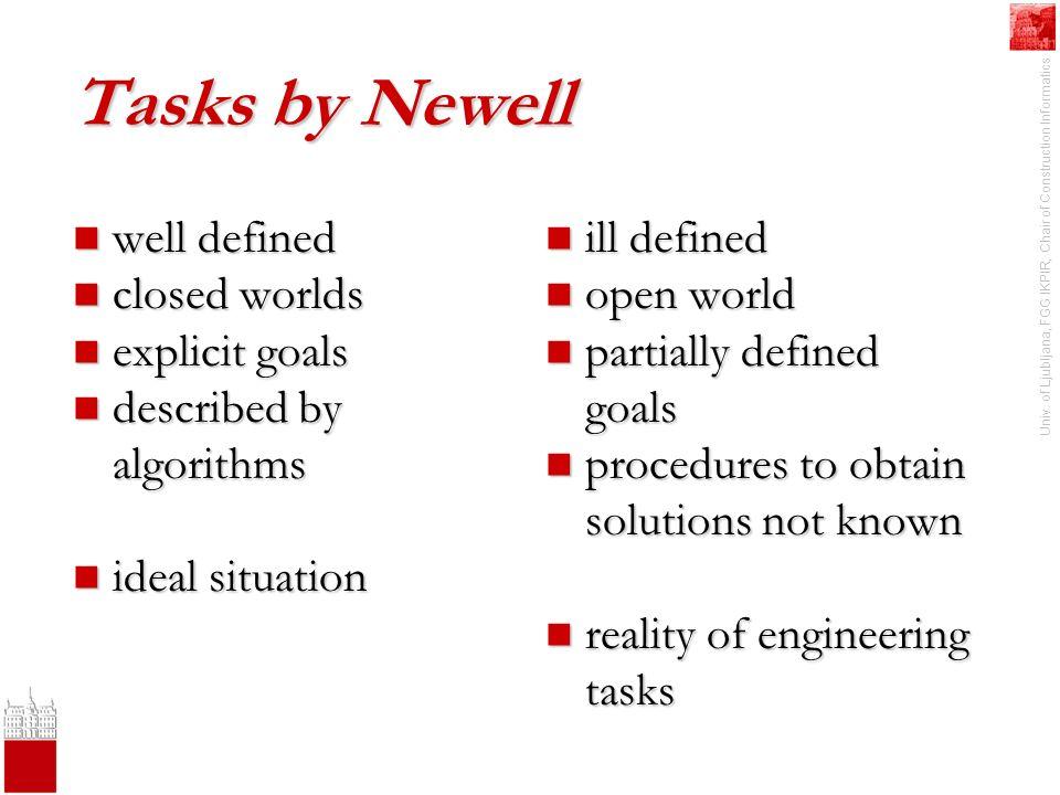 Univ. of Ljubljana, FGG IKPIR, Chair of Construction Informatics Tasks by Newell well defined well defined closed worlds closed worlds explicit goals