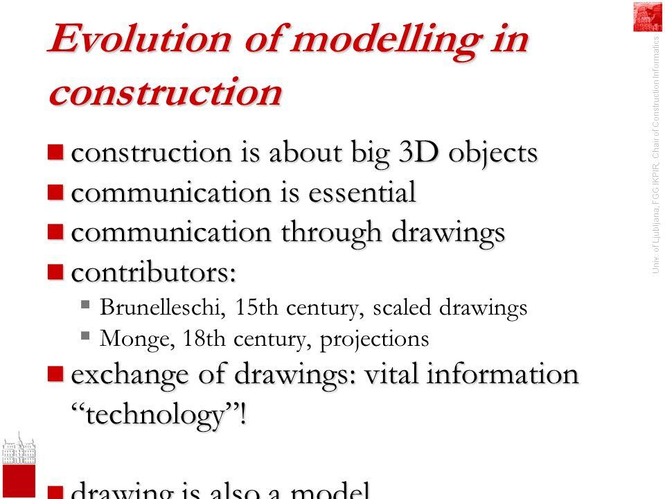 Univ. of Ljubljana, FGG IKPIR, Chair of Construction Informatics Evolution of modelling in construction construction is about big 3D objects construct