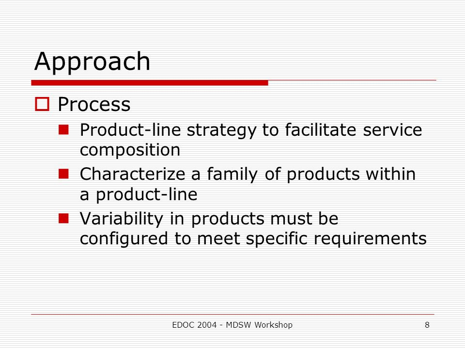 EDOC MDSW Workshop8 Approach Process Product-line strategy to facilitate service composition Characterize a family of products within a product-line Variability in products must be configured to meet specific requirements