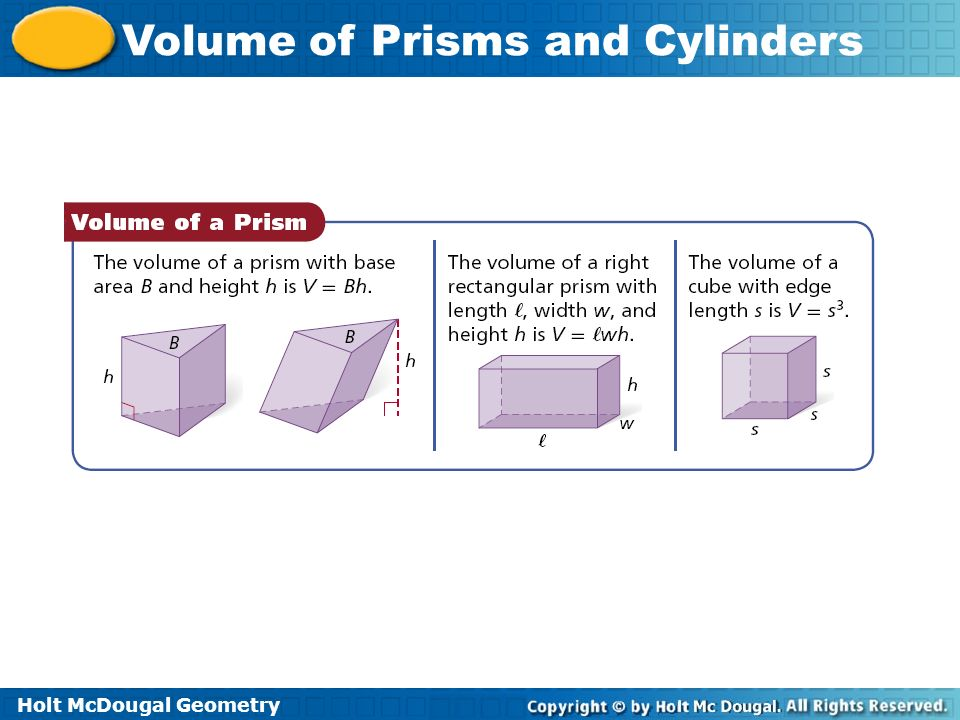 Holt McDougal Geometry Volume of Prisms and Cylinders Example 4 Continued The radius and height of the cylinder are multiplied by.