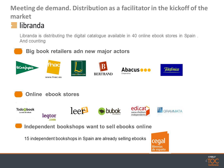 4 Big book retailers adn new major actors Online ebook stores Libranda is distributing the digital catalogue available in 40 online ebook stores in Spain.