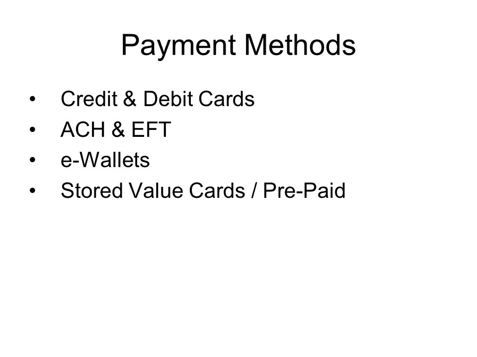Credit & Debit Cards Transactions via the Card Associations Payment Networks.