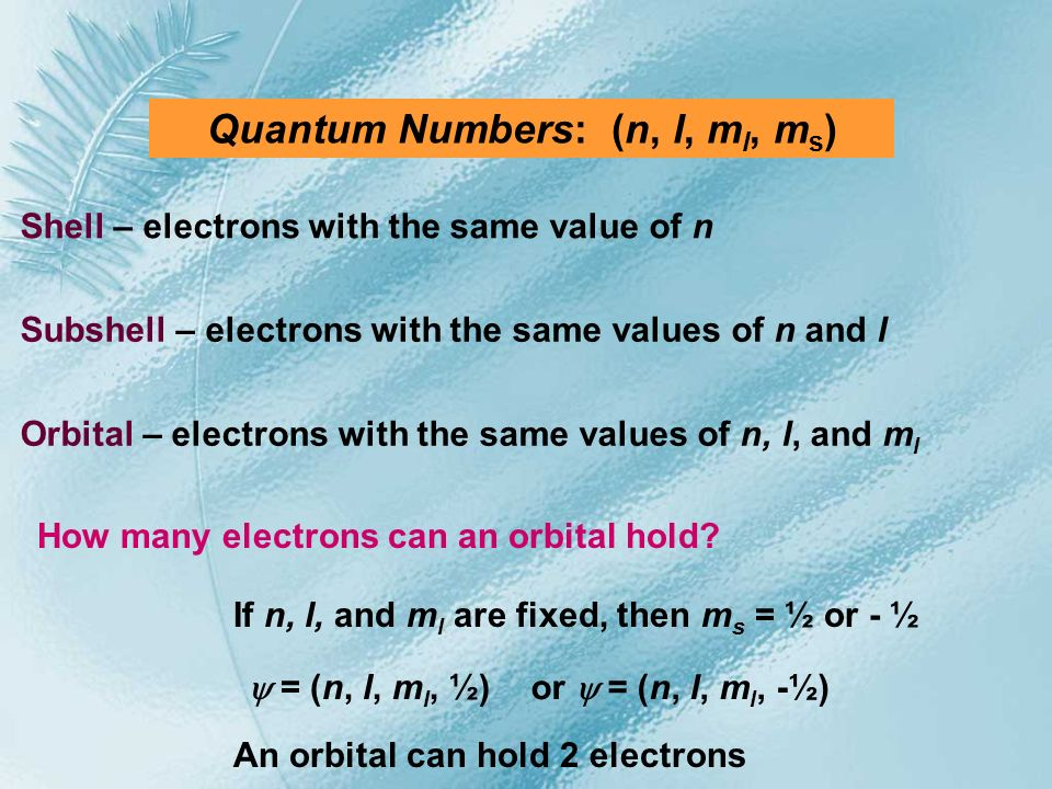 Quantum Numbers: (n, l, m l, m s ) Shell – electrons with the same value of n Subshell – electrons with the same values of n and l Orbital – electrons