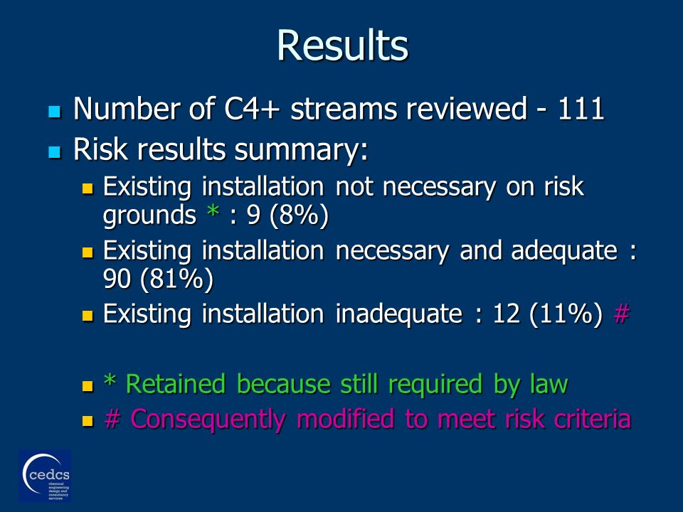 Results Number of C4+ streams reviewed - 111 Number of C4+ streams reviewed - 111 Risk results summary: Risk results summary: Existing installation not necessary on risk grounds * : 9 (8%) Existing installation not necessary on risk grounds * : 9 (8%) Existing installation necessary and adequate : 90 (81%) Existing installation necessary and adequate : 90 (81%) Existing installation inadequate : 12 (11%) # Existing installation inadequate : 12 (11%) # * Retained because still required by law * Retained because still required by law # Consequently modified to meet risk criteria # Consequently modified to meet risk criteria