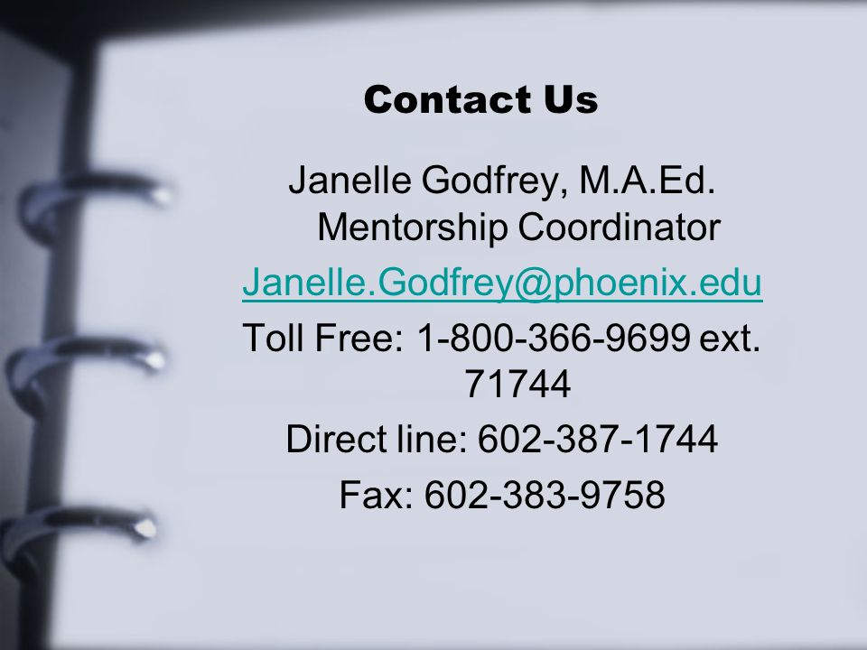 Contact Us Janelle Godfrey, M.A.Ed.
