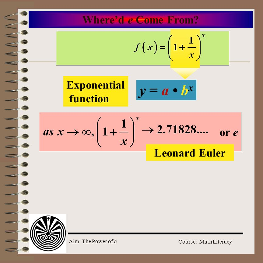 Aim: The Power of e Course: Math Literacy Whered e Come From? y = a b x Exponential function or e Leonard Euler