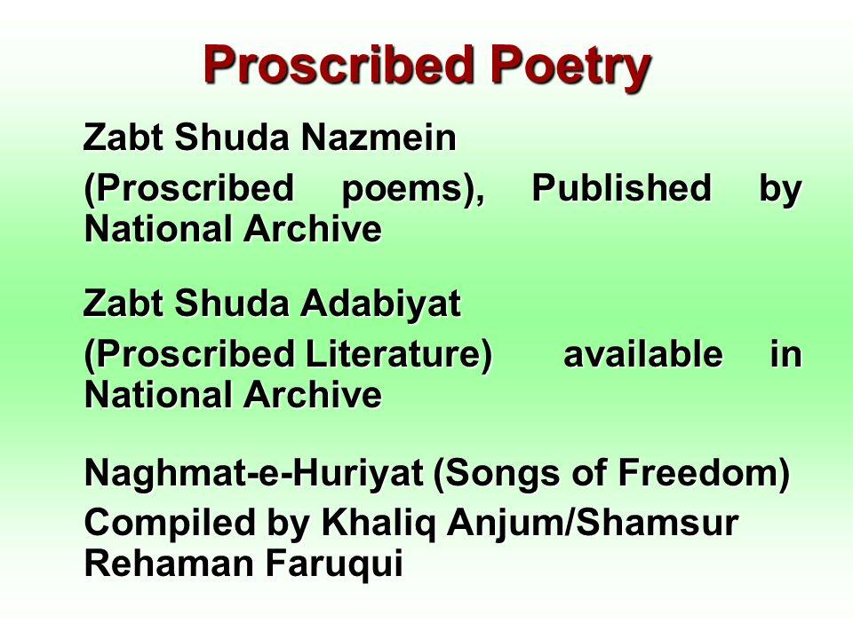 Proscribed Poetry Zabt Shuda Nazmein (Proscribed poems), Published by National Archive Zabt Shuda Adabiyat (Proscribed Literature) available in Nation