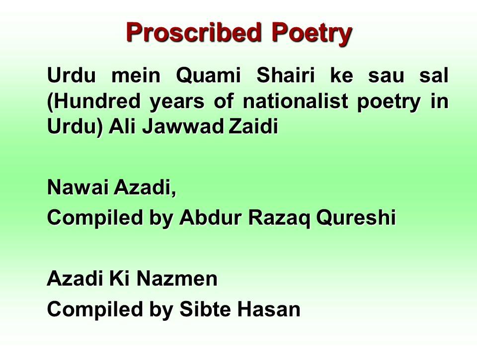 Proscribed Poetry Urdu mein Quami Shairi ke sau sal (Hundred years of nationalist poetry in Urdu) Ali Jawwad Zaidi Nawai Azadi, Compiled by Abdur Raza