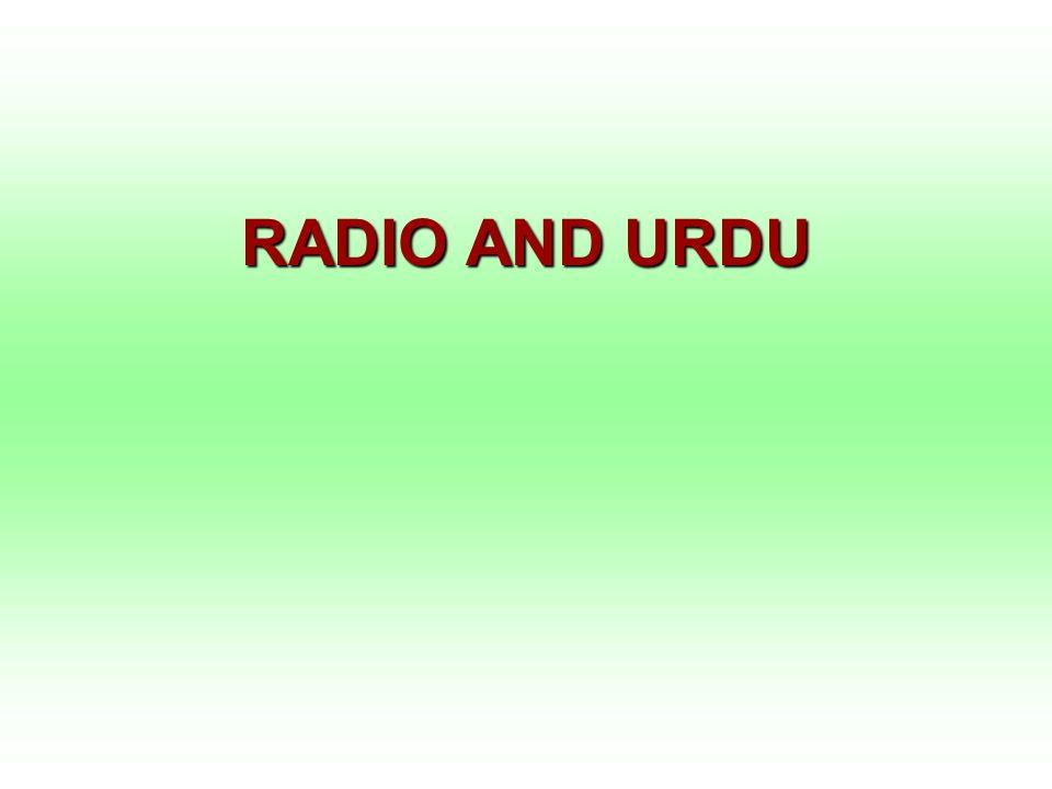 RADIO AND URDU