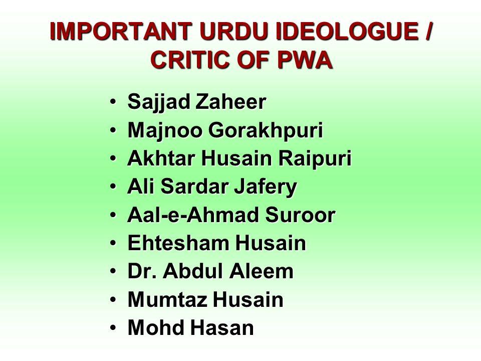 IMPORTANT URDU IDEOLOGUE / CRITIC OF PWA Sajjad ZaheerSajjad Zaheer Majnoo GorakhpuriMajnoo Gorakhpuri Akhtar Husain RaipuriAkhtar Husain Raipuri Ali