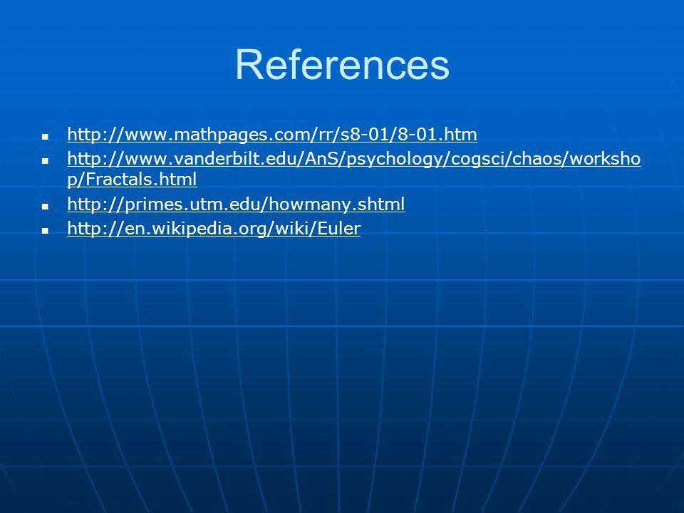 References http://www.mathpages.com/rr/s8-01/8-01.htm http://www.vanderbilt.edu/AnS/psychology/cogsci/chaos/worksho p/Fractals.html http://www.vanderbilt.edu/AnS/psychology/cogsci/chaos/worksho p/Fractals.html http://primes.utm.edu/howmany.shtml http://en.wikipedia.org/wiki/Euler