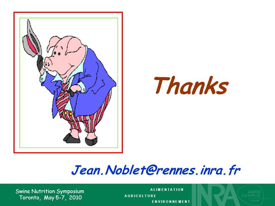 Swine Nutrition Symposium Toronto, May 5-7, 2010 Thanks Jean.Noblet@rennes.inra.fr A L I M E N T A T I O N A G R I C U L T U R E E N V I R O N N E M E