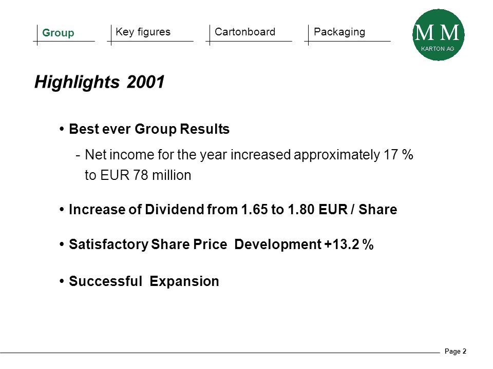 Page 2 Best ever Group Results - Net income for the year increased approximately 17 % to EUR 78 million Increase of Dividend from 1.65 to 1.80 EUR / S