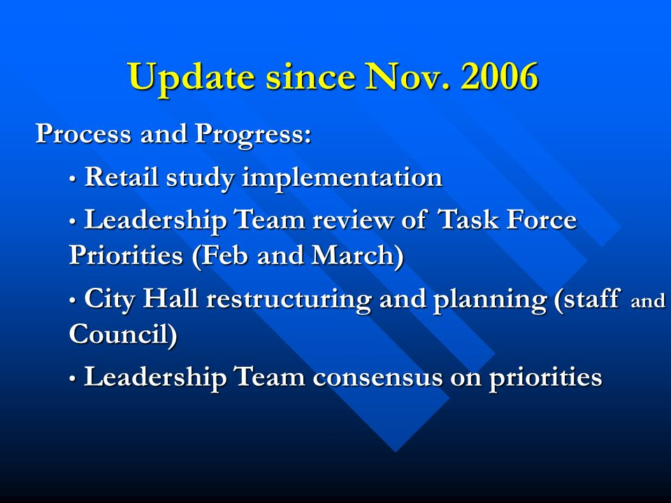 Update since Nov. 2006 Process and Progress: Retail study implementation Retail study implementation Leadership Team review of Task Force Priorities (