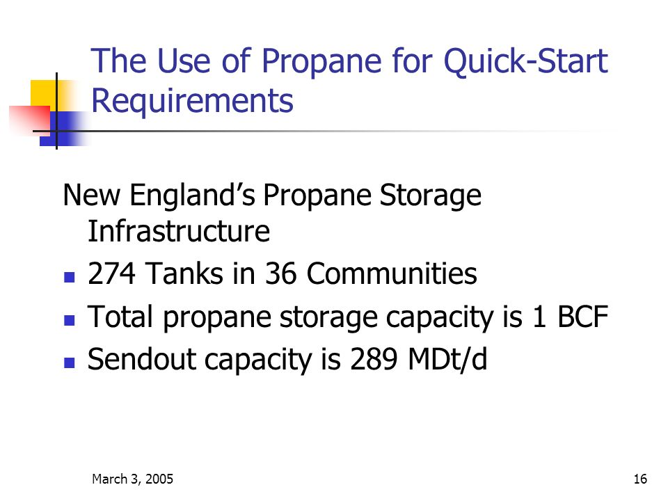 March 3, 200516 The Use of Propane for Quick-Start Requirements New Englands Propane Storage Infrastructure 274 Tanks in 36 Communities Total propane storage capacity is 1 BCF Sendout capacity is 289 MDt/d