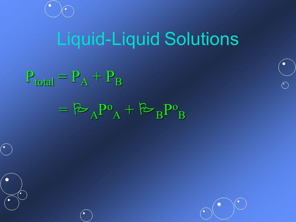 Liquid-Liquid Solutions P total = P A + P B = A P o A + B P o B = A P o A + B P o B