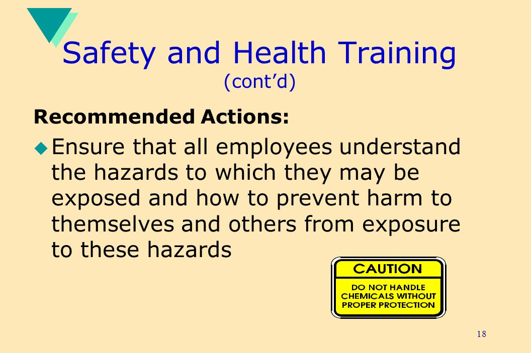 18 Safety and Health Training (contd) Recommended Actions: u Ensure that all employees understand the hazards to which they may be exposed and how to prevent harm to themselves and others from exposure to these hazards