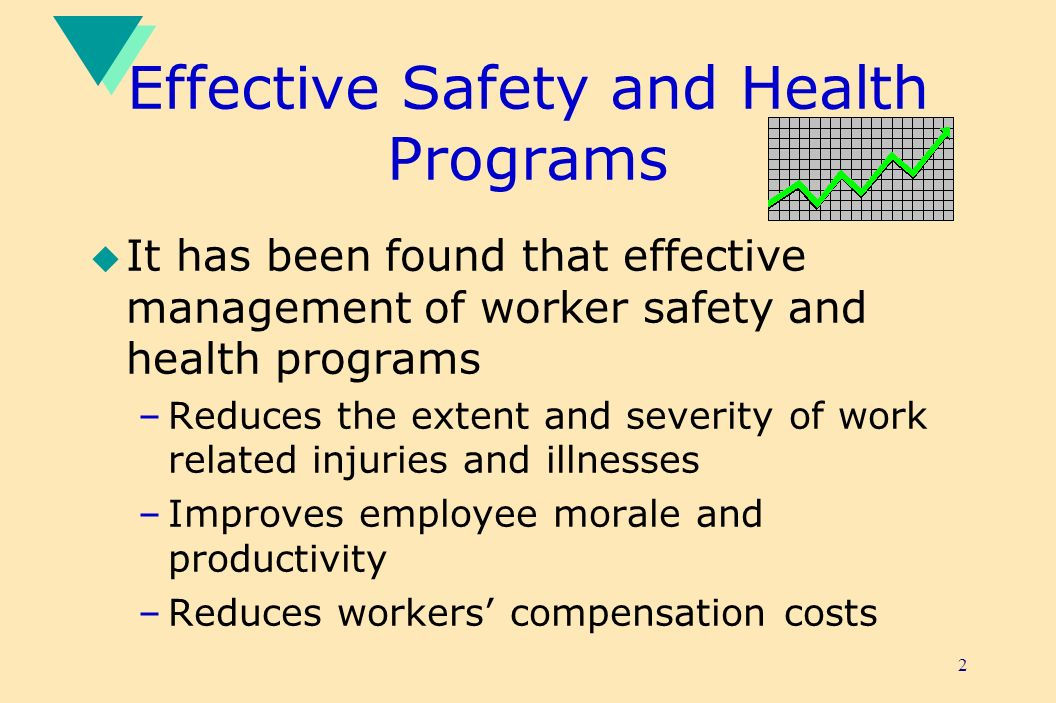2 Effective Safety and Health Programs u It has been found that effective management of worker safety and health programs –Reduces the extent and severity of work related injuries and illnesses –Improves employee morale and productivity –Reduces workers compensation costs