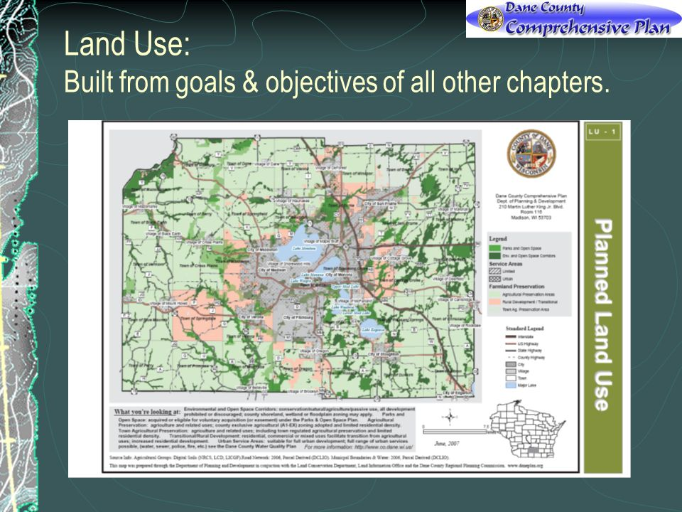 Land Use: Built from goals & objectives of all other chapters.