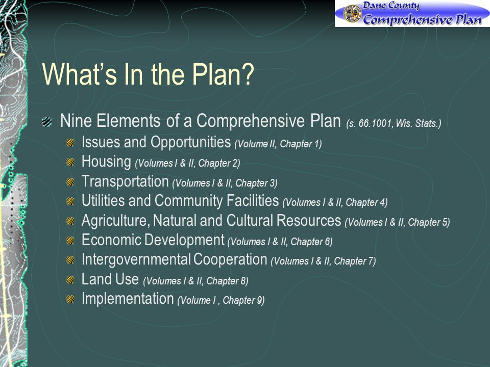 Whats In the Plan? Nine Elements of a Comprehensive Plan (s. 66.1001, Wis. Stats.) Issues and Opportunities (Volume II, Chapter 1) Housing (Volumes I