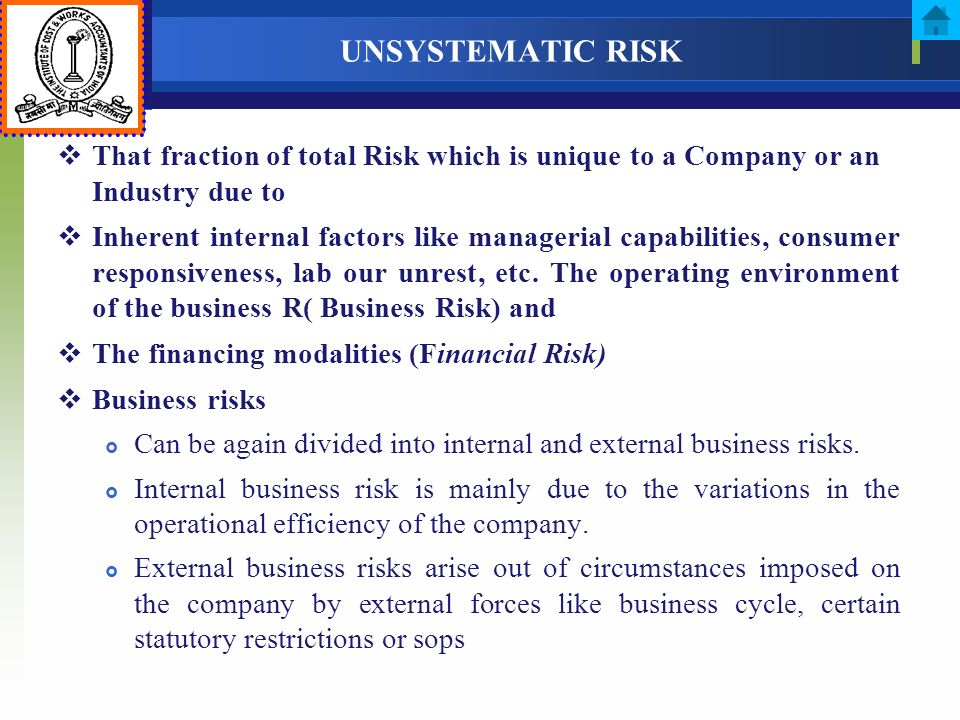 UNSYSTEMATIC RISK That fraction of total Risk which is unique to a Company or an Industry due to Inherent internal factors like managerial capabilitie