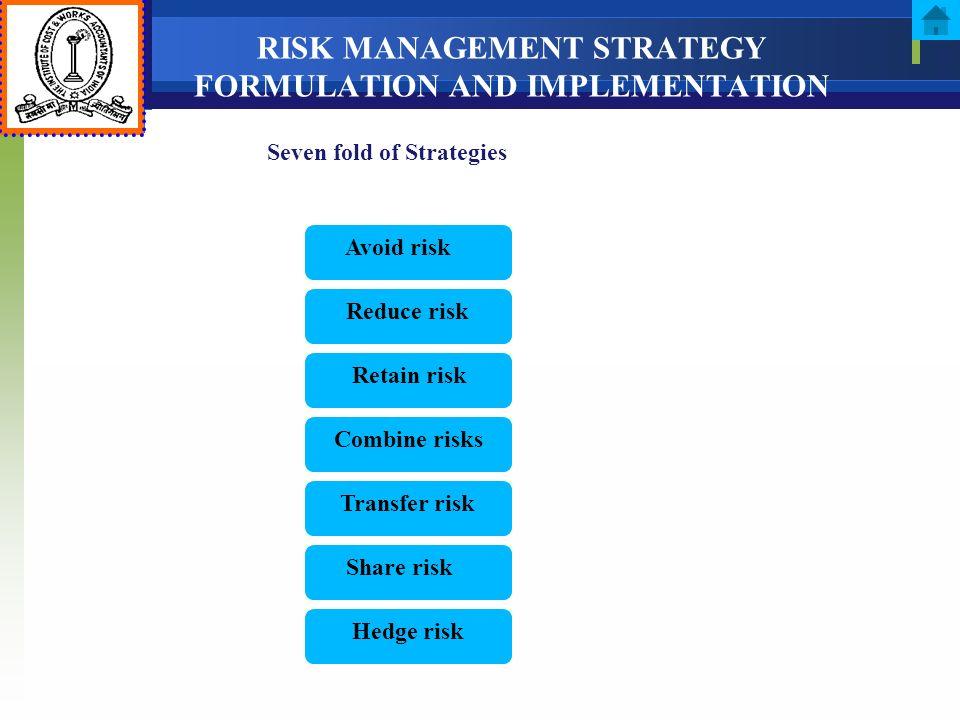RISK MANAGEMENT STRATEGY FORMULATION AND IMPLEMENTATION Seven fold of Strategies Hedge risk Retain risk Combine risks Transfer risk Share risk Reduce