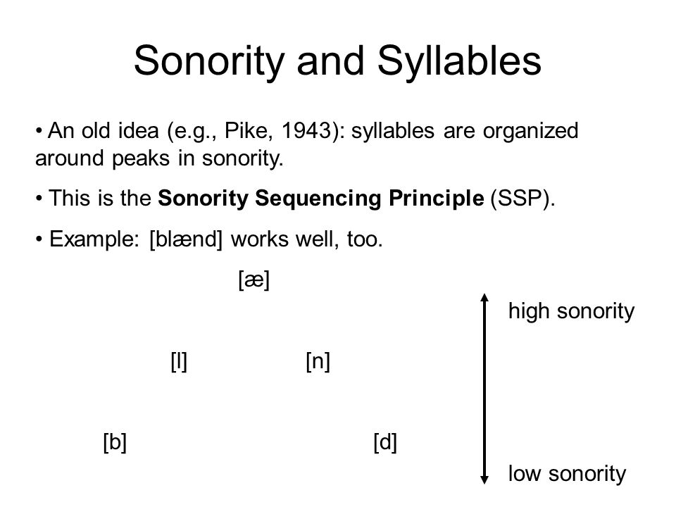 Sonority and Syllables An old idea (e.g., Pike, 1943): syllables are organized around peaks in sonority. This is the Sonority Sequencing Principle (SS
