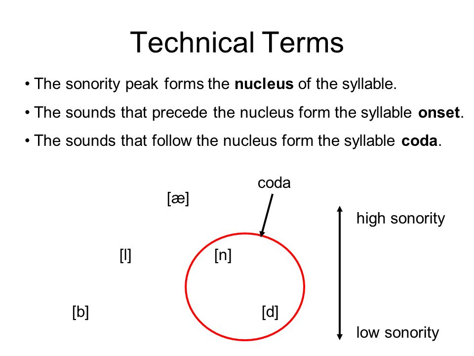 Technical Terms The sonority peak forms the nucleus of the syllable. The sounds that precede the nucleus form the syllable onset. [æ] [l][n] [b][d] hi