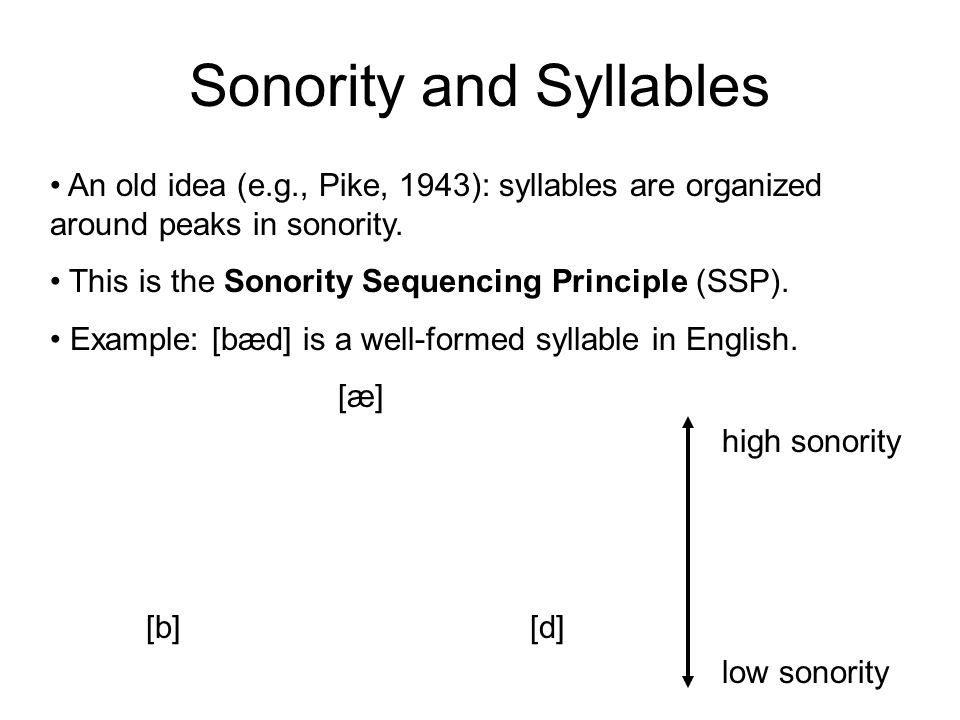 A Sonority Scale low vowels high vowels glides liquids nasals fricatives stops high sonority low sonority