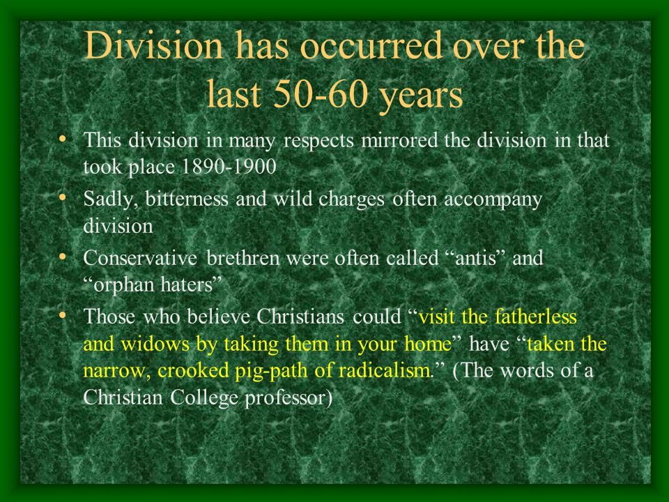 Division has occurred over the last 50-60 years This division in many respects mirrored the division in that took place 1890-1900 Sadly, bitterness an