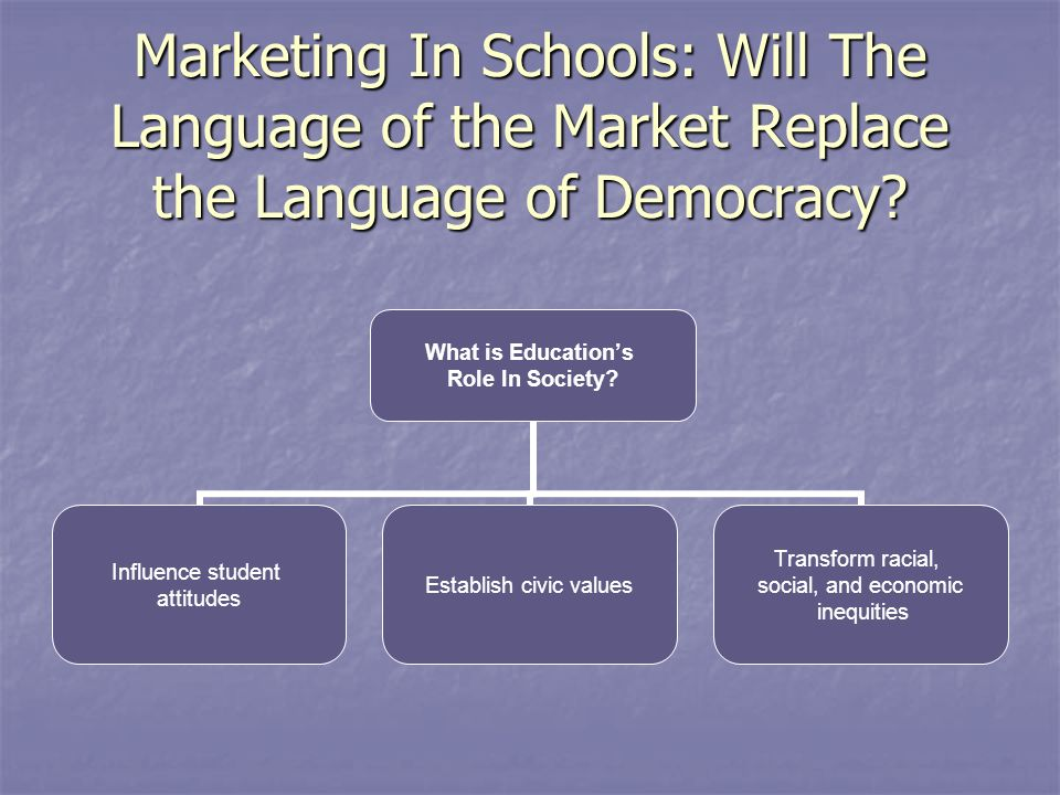 Marketing In Schools: Will The Language of the Market Replace the Language of Democracy.