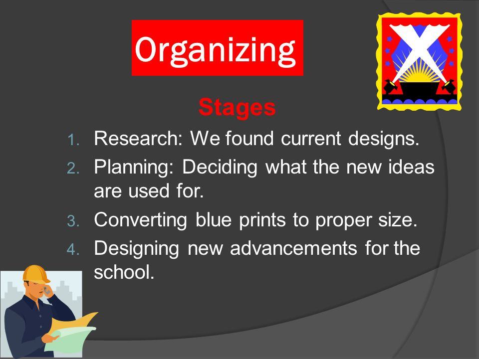 Organizing Stages 1. Research: We found current designs. 2. Planning: Deciding what the new ideas are used for. 3. Converting blue prints to proper si