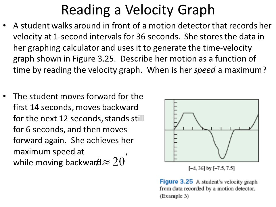 Reading a Velocity Graph A student walks around in front of a motion detector that records her velocity at 1-second intervals for 36 seconds. She stor