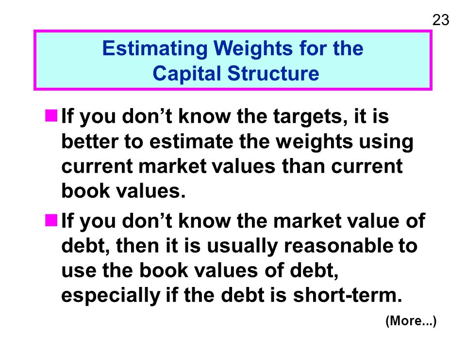 23 Estimating Weights for the Capital Structure If you dont know the targets, it is better to estimate the weights using current market values than current book values.