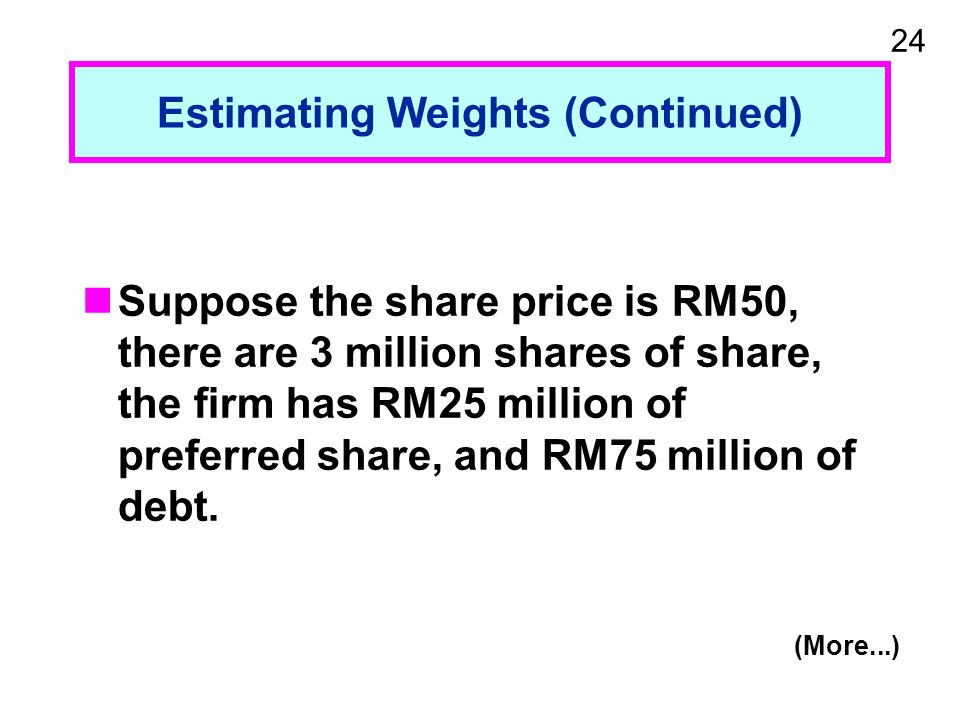 24 Estimating Weights (Continued) Suppose the share price is RM50, there are 3 million shares of share, the firm has RM25 million of preferred share, and RM75 million of debt.