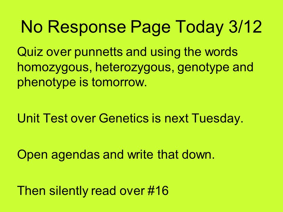 No Response Page Today 3/12 Quiz over punnetts and using the words homozygous, heterozygous, genotype and phenotype is tomorrow. Unit Test over Geneti