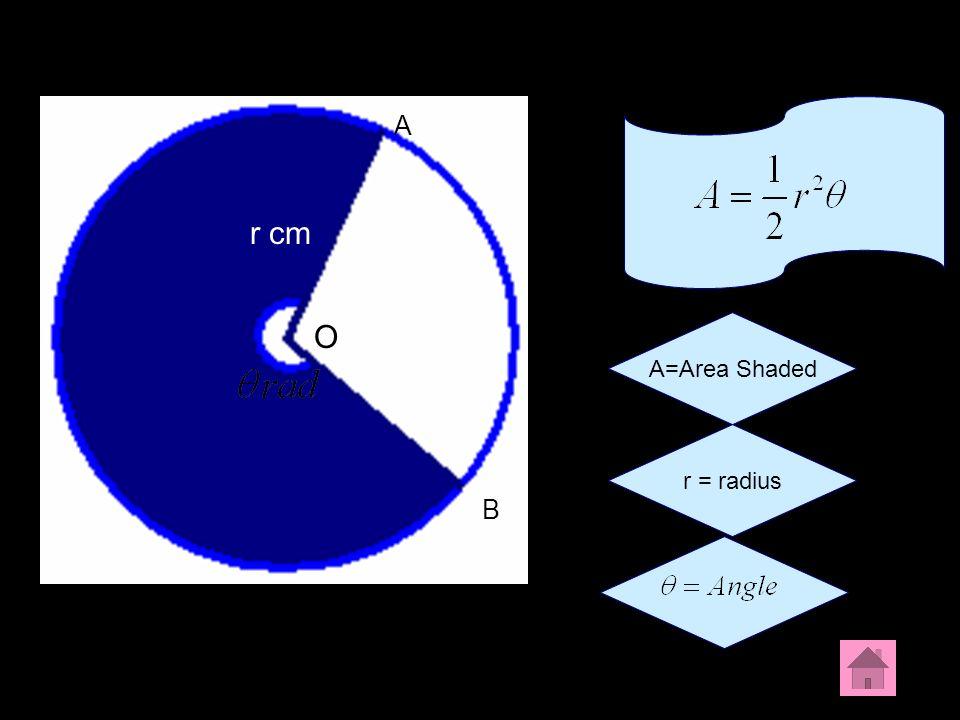 A B O r cm A=Area Shaded r = radius A