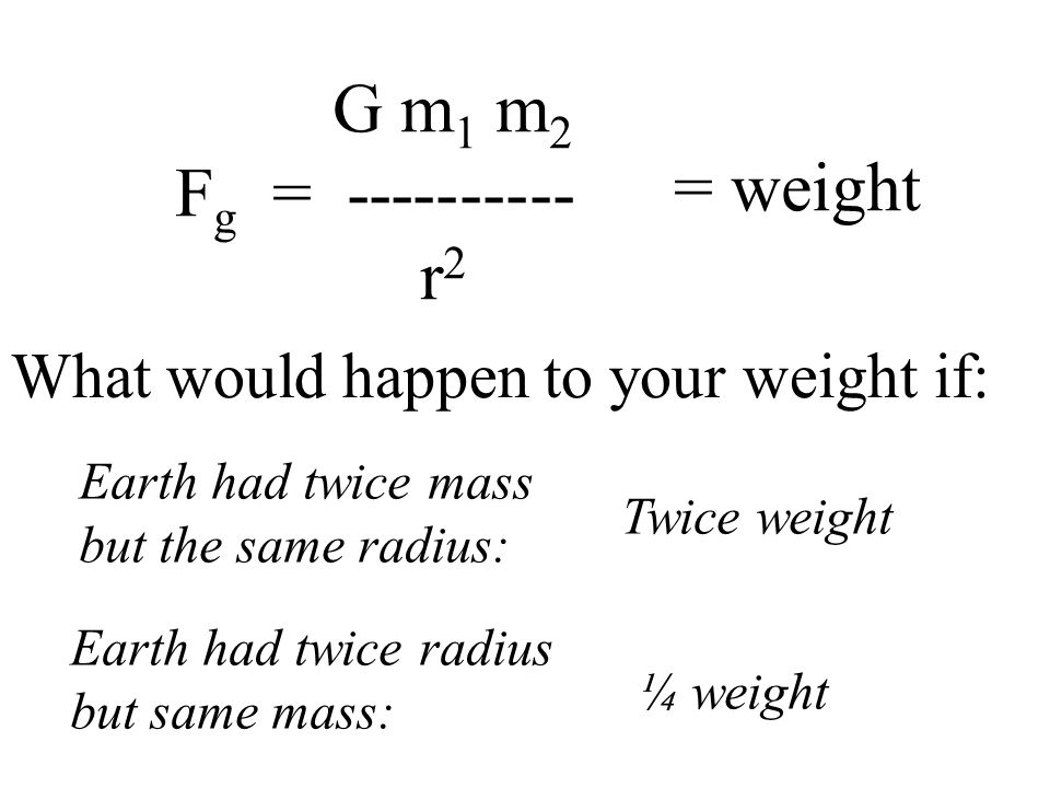 G m 1 m 2 F g = ---------- r 2 = weight What would happen to your weight if: Earth had twice mass but the same radius: Earth had twice radius but same