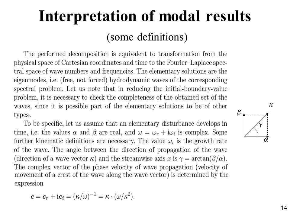 14 Interpretation of modal results (some definitions)