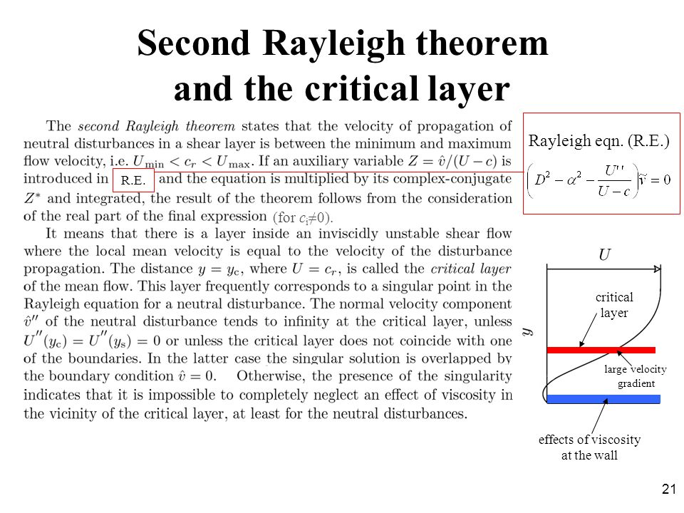 21 Second Rayleigh theorem and the critical layer Rayleigh eqn. (R.E.) R.E. critical layer effects of viscosity at the wall (for c i 0). large velocit