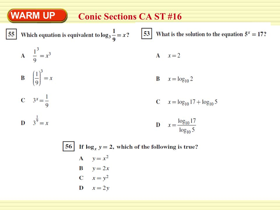 WARM UP Conic Sections CA ST #16