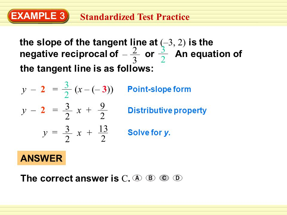 EXAMPLE 3 Standardized Test Practice 2 3 – the slope of the tangent line at (–3, 2) is the negative reciprocal of or An equation of 3 2 the tangent li