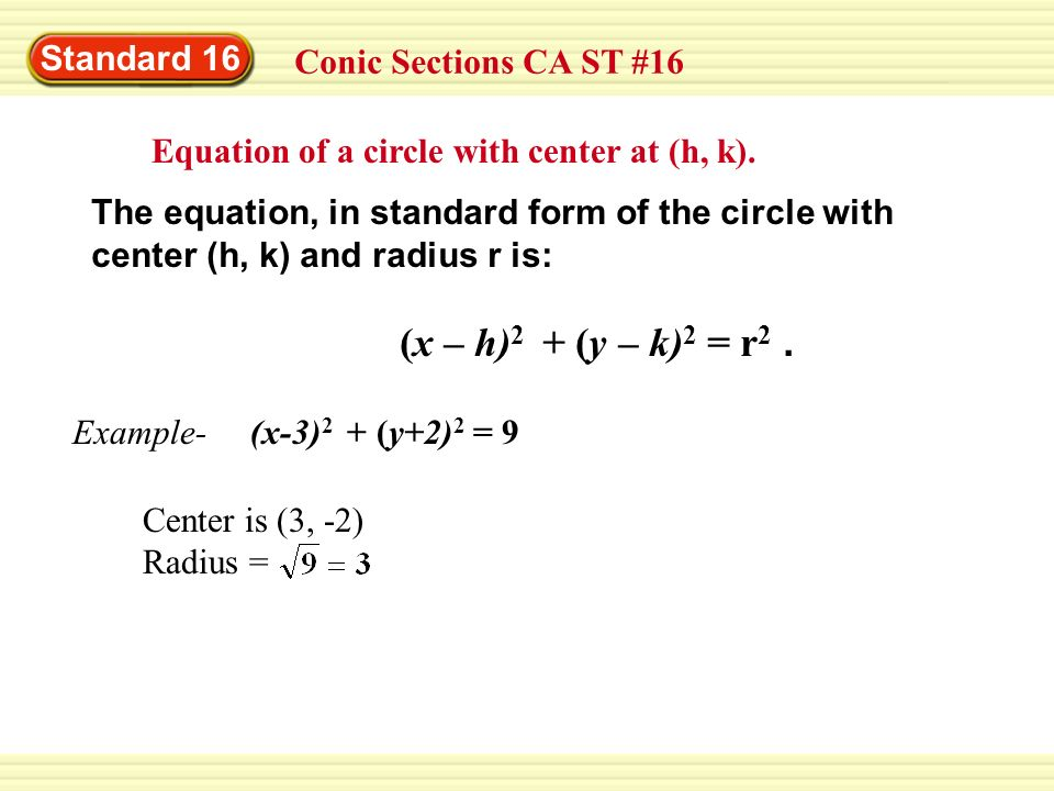 Standard 16 Conic Sections CA ST #16 Equation of a circle with center at (h, k). The equation, in standard form of the circle with center (h, k) and r
