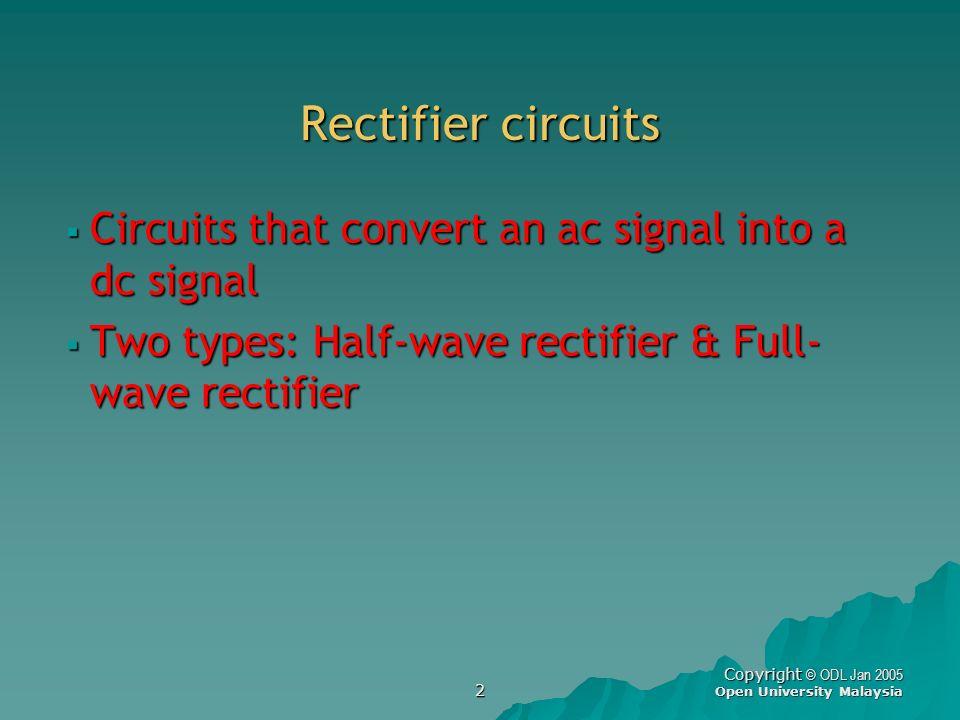 2 Copyright © ODL Jan 2005 Open University Malaysia Rectifier circuits Circuits that convert an ac signal into a dc signal Circuits that convert an ac
