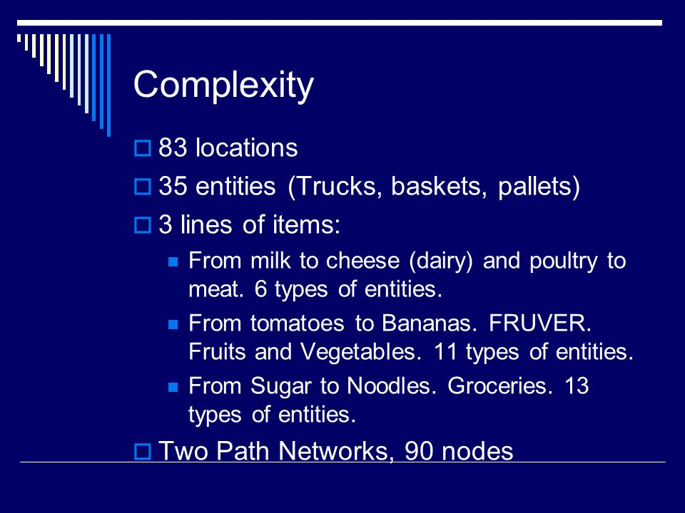 Complexity 83 locations 35 entities (Trucks, baskets, pallets) 3 lines of items: From milk to cheese (dairy) and poultry to meat. 6 types of entities.