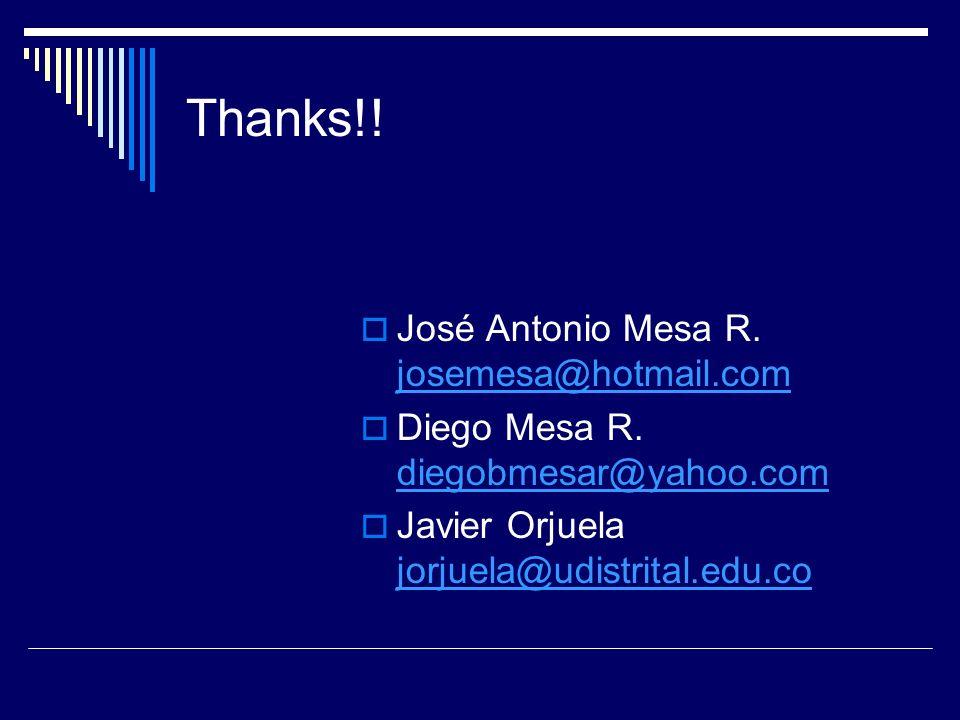 Thanks!! José Antonio Mesa R. josemesa@hotmail.com josemesa@hotmail.com Diego Mesa R. diegobmesar@yahoo.com diegobmesar@yahoo.com Javier Orjuela jorju